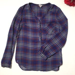 Merona Plaid Chaffon Button Blouse